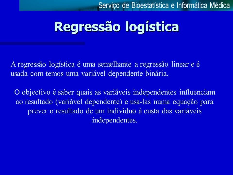 Regressão logística A regressão logística é uma semelhante a regressão linear e é usada com temos uma variável dependente binária. O objectivo é saber