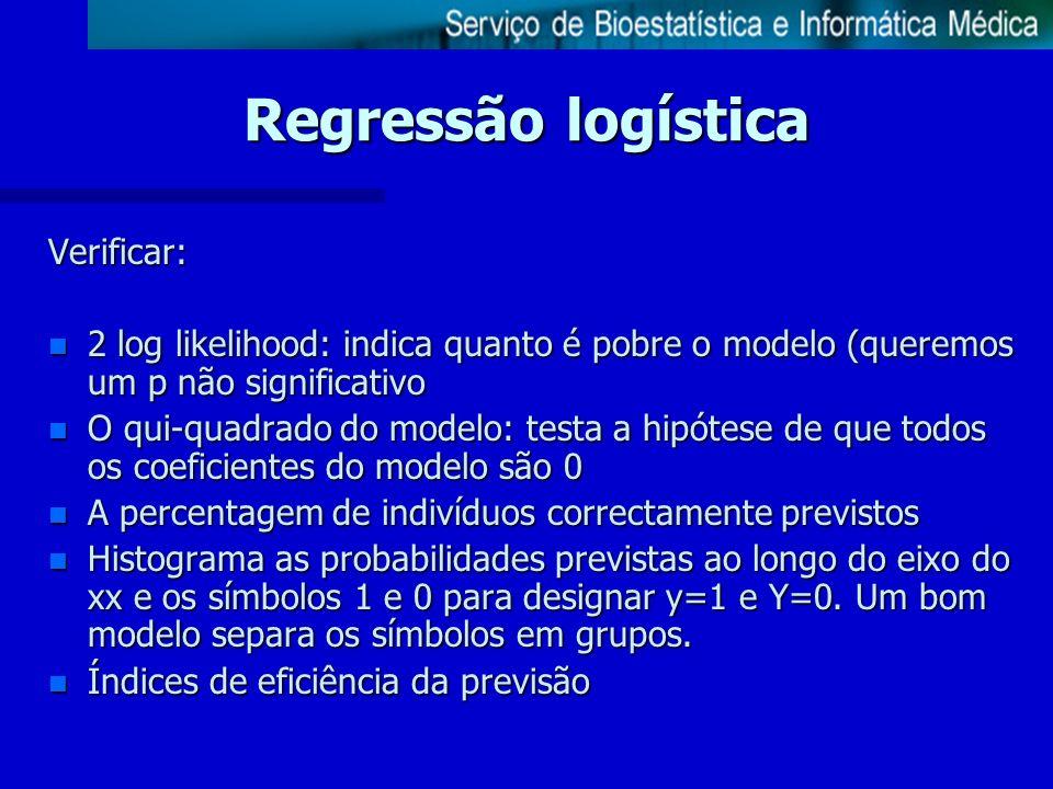Verificar: n 2 log likelihood: indica quanto é pobre o modelo (queremos um p não significativo n O qui-quadrado do modelo: testa a hipótese de que tod