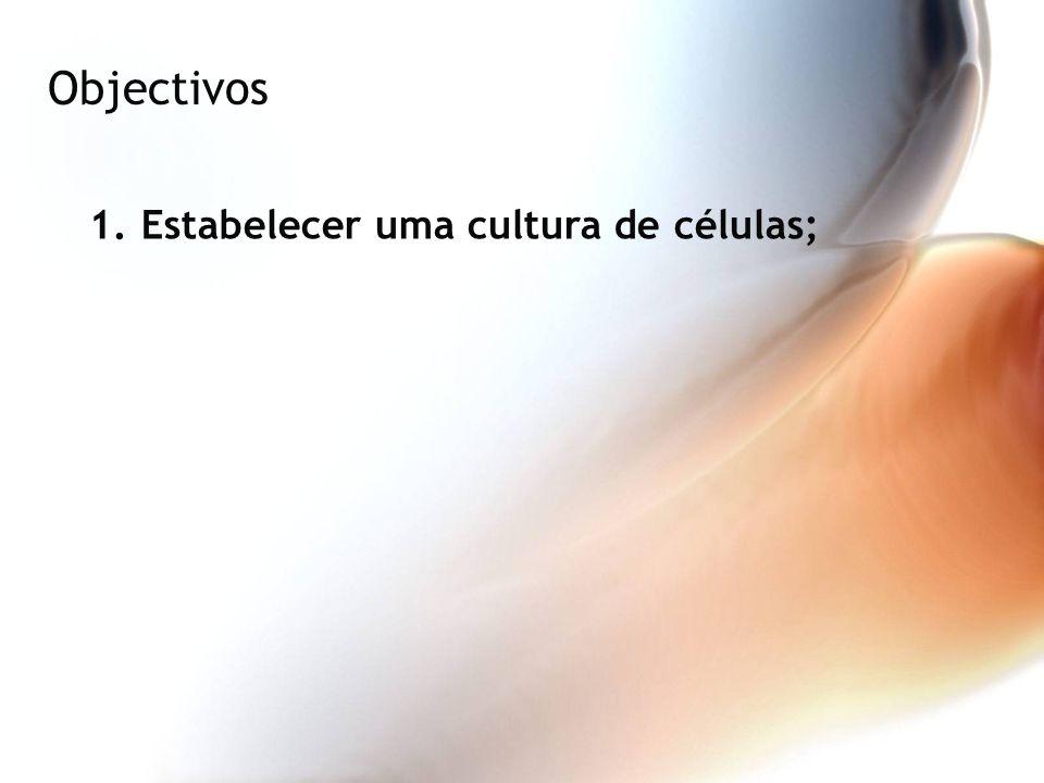 Objectivos 1.Estabelecer uma cultura de células;
