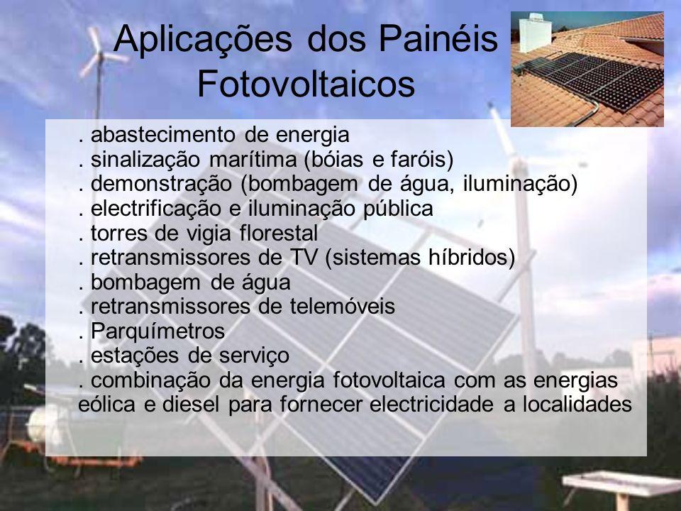 Aplicações dos Painéis Fotovoltaicos. abastecimento de energia. sinalização marítima (bóias e faróis). demonstração (bombagem de água, iluminação). el