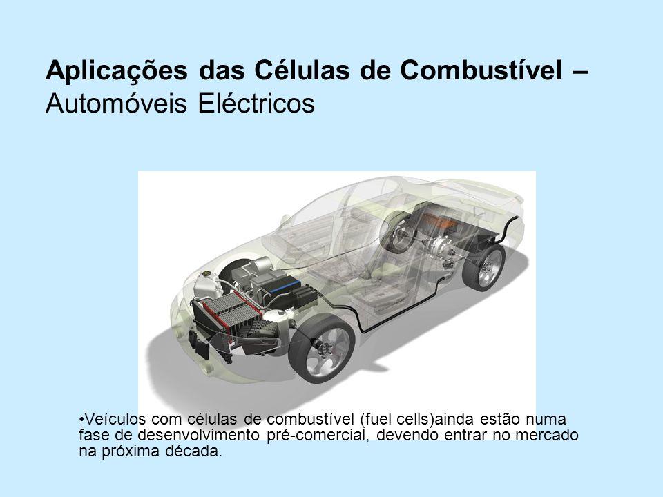 Aplicações das Células de Combustível – Automóveis Eléctricos Veículos com células de combustível (fuel cells)ainda estão numa fase de desenvolvimento