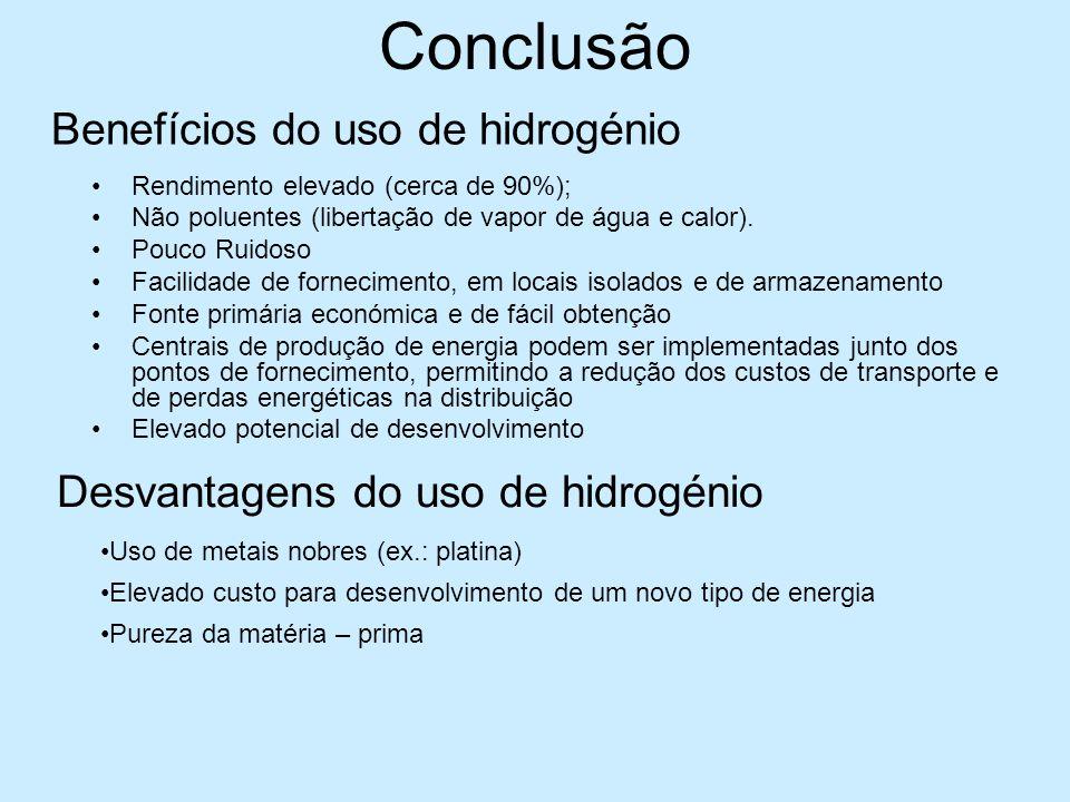 Conclusão Rendimento elevado (cerca de 90%); Não poluentes (libertação de vapor de água e calor). Pouco Ruidoso Facilidade de fornecimento, em locais
