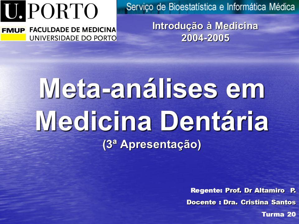 Meta-análises em Medicina Dentária (3ª Apresentação) Introdução à Medicina 2004-2005 Prof.