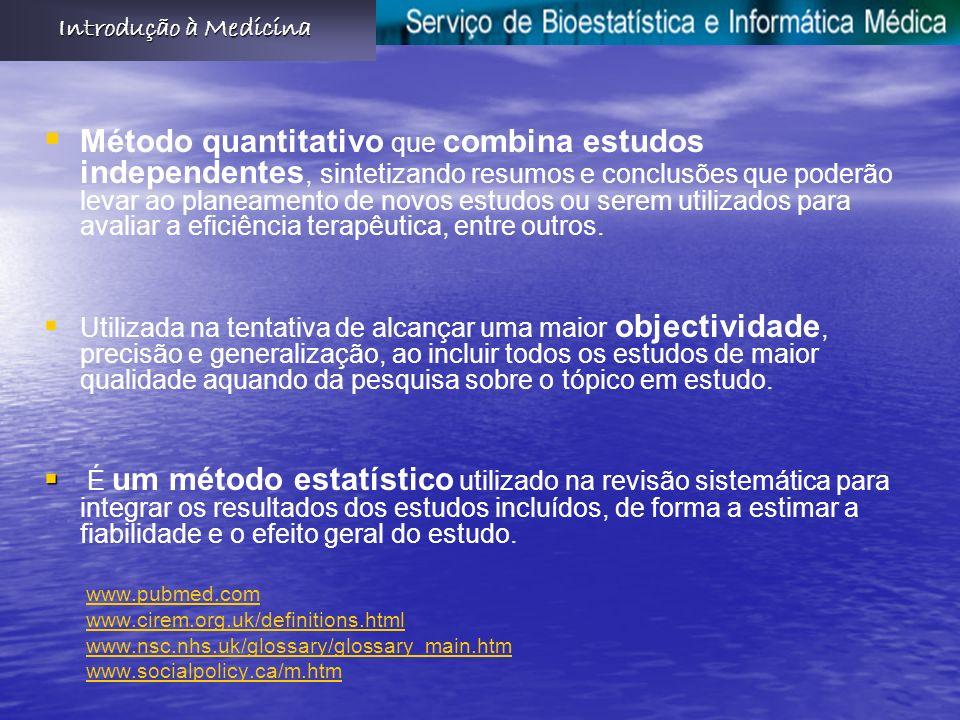 Método quantitativo que combina estudos independentes, sintetizando resumos e conclusões que poderão levar ao planeamento de novos estudos ou serem utilizados para avaliar a eficiência terapêutica, entre outros.