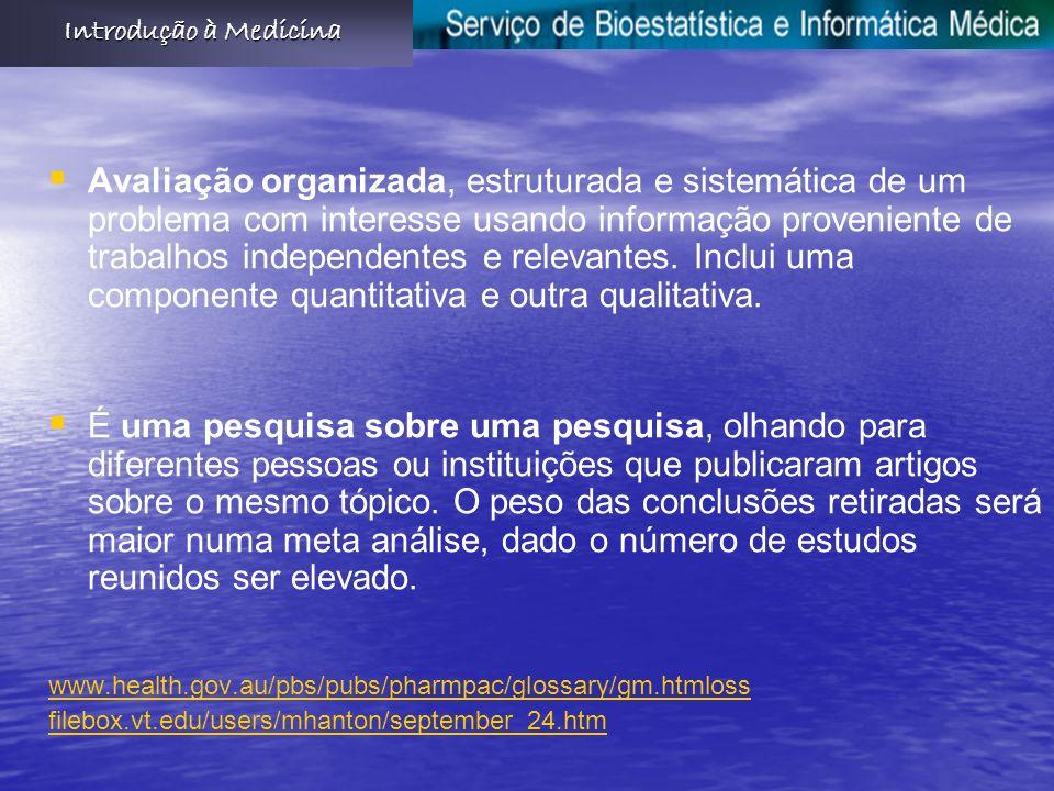Avaliação organizada, estruturada e sistemática de um problema com interesse usando informação proveniente de trabalhos independentes e relevantes.