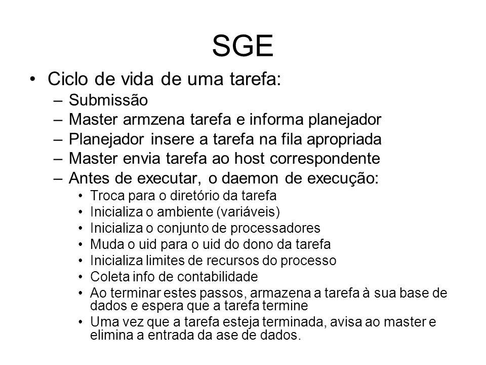 SGE Ciclo de vida de uma tarefa: –Submissão –Master armzena tarefa e informa planejador –Planejador insere a tarefa na fila apropriada –Master envia t