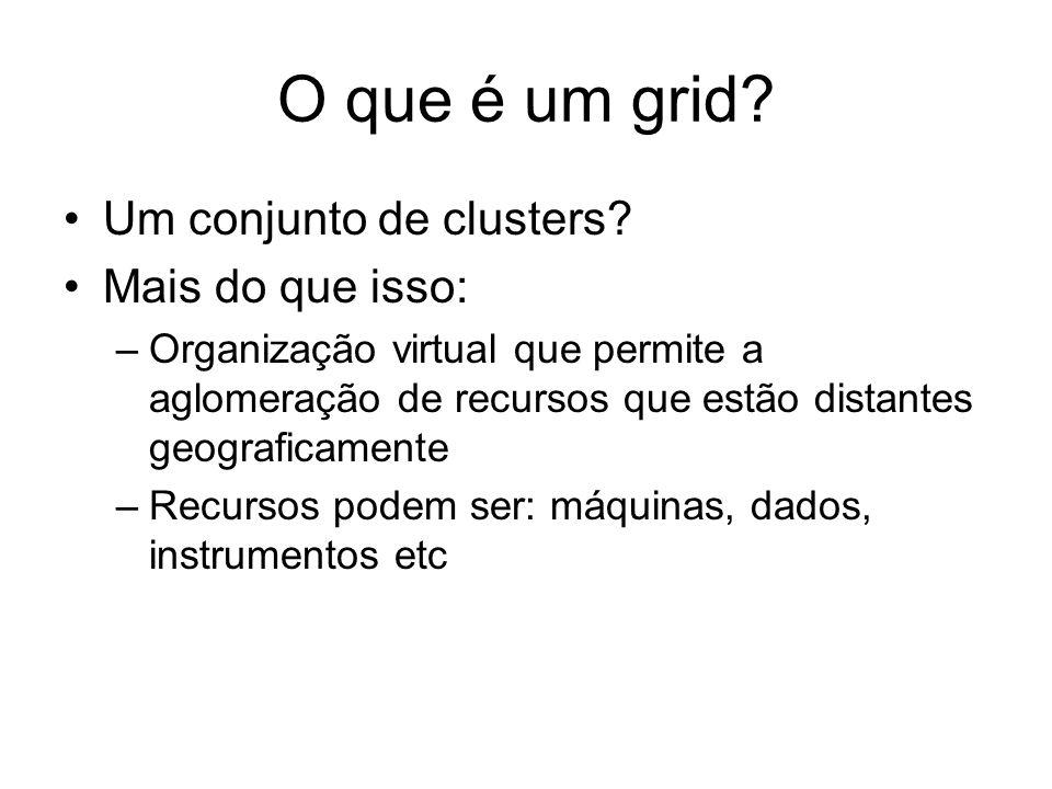 O que é um grid? Um conjunto de clusters? Mais do que isso: –Organização virtual que permite a aglomeração de recursos que estão distantes geograficam