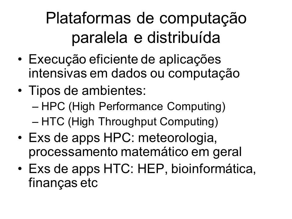 Plataformas de computação paralela e distribuída Execução eficiente de aplicações intensivas em dados ou computação Tipos de ambientes: –HPC (High Per