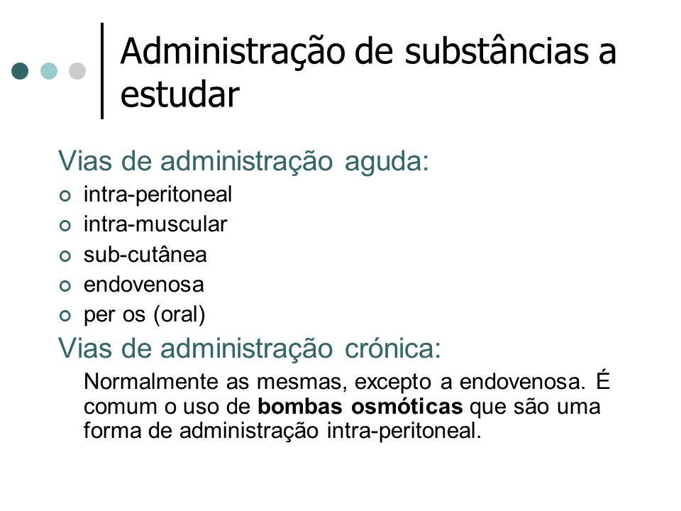 Administração de substâncias a estudar Vias de administração aguda: intra-peritoneal intra-muscular sub-cutânea endovenosa per os (oral) Vias de admin