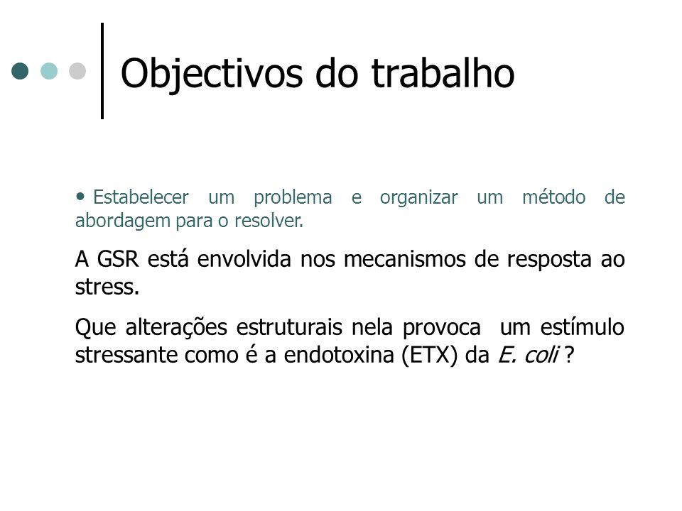 Objectivos do trabalho Estabelecer um problema e organizar um método de abordagem para o resolver. A GSR está envolvida nos mecanismos de resposta ao