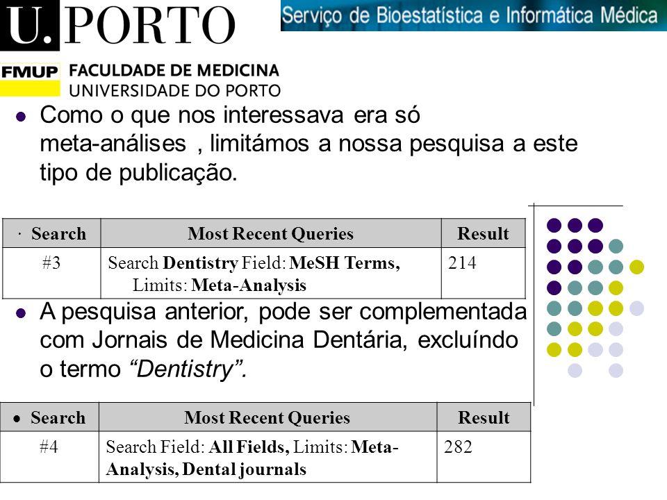 Introdução à Medicina · SearchMost Recent QueriesResult #3Search Dentistry Field: MeSH Terms, Limits: Meta-Analysis 214 Search Most Recent QueriesResu