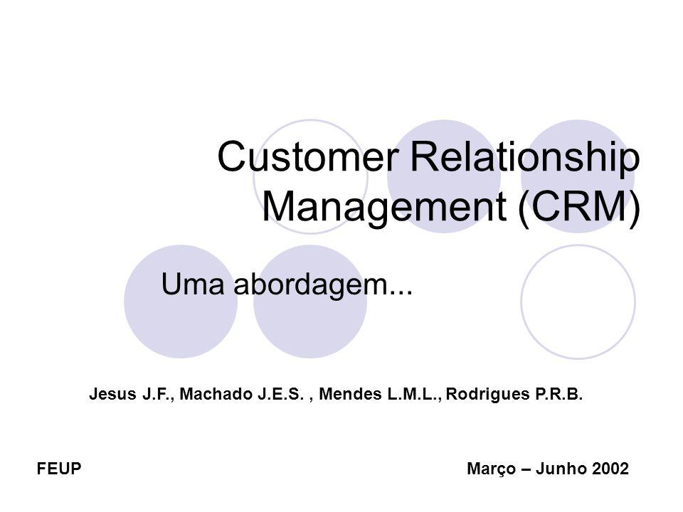 FEUP Jesus J.F., Machado J.E.S., Mendes L.M.L., Rodrigues P.R.B. Março – Junho 2002 Customer Relationship Management (CRM) Uma abordagem...