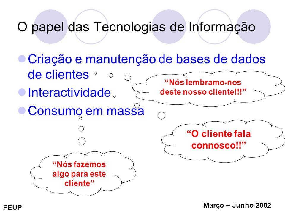 FEUP Março – Junho 2002 O papel das Tecnologias de Informação Criação e manutenção de bases de dados de clientes Interactividade Consumo em massa Nós