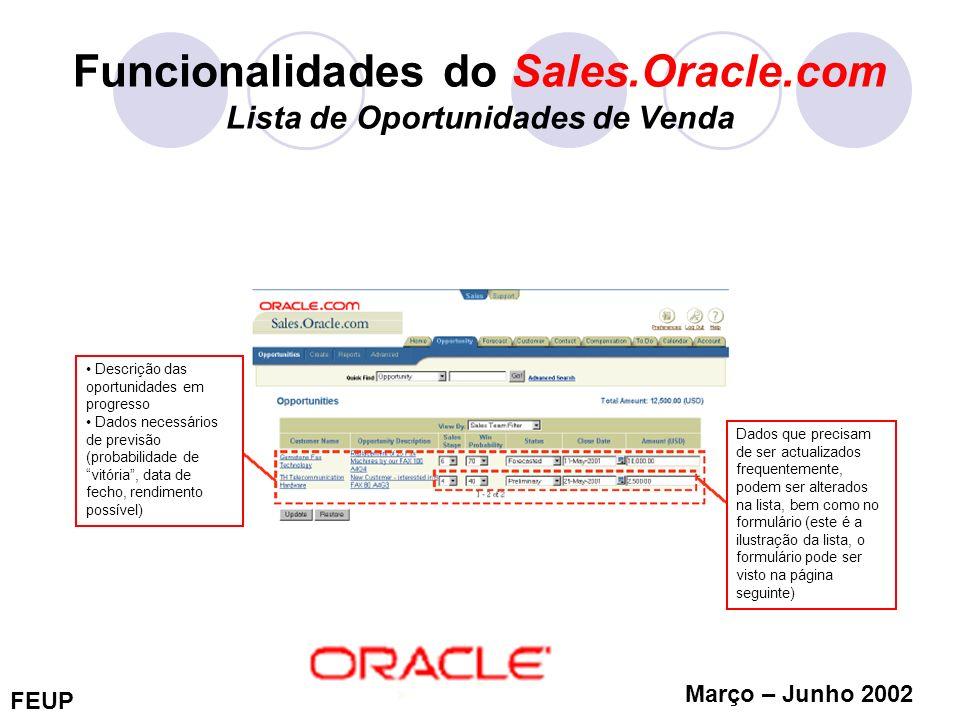 FEUP Março – Junho 2002 Funcionalidades do Sales.Oracle.com Lista de Oportunidades de Venda Descrição das oportunidades em progresso Dados necessários