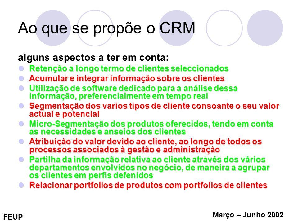 FEUP Março – Junho 2002 Ao que se propõe o CRM alguns aspectos a ter em conta: Retenção a longo termo de clientes seleccionados Retenção a longo termo