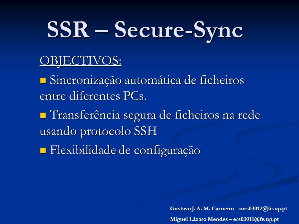 SSR – Secure-Sync OBJECTIVOS: Sincronização automática de ficheiros entre diferentes PCs. Sincronização automática de ficheiros entre diferentes PCs.