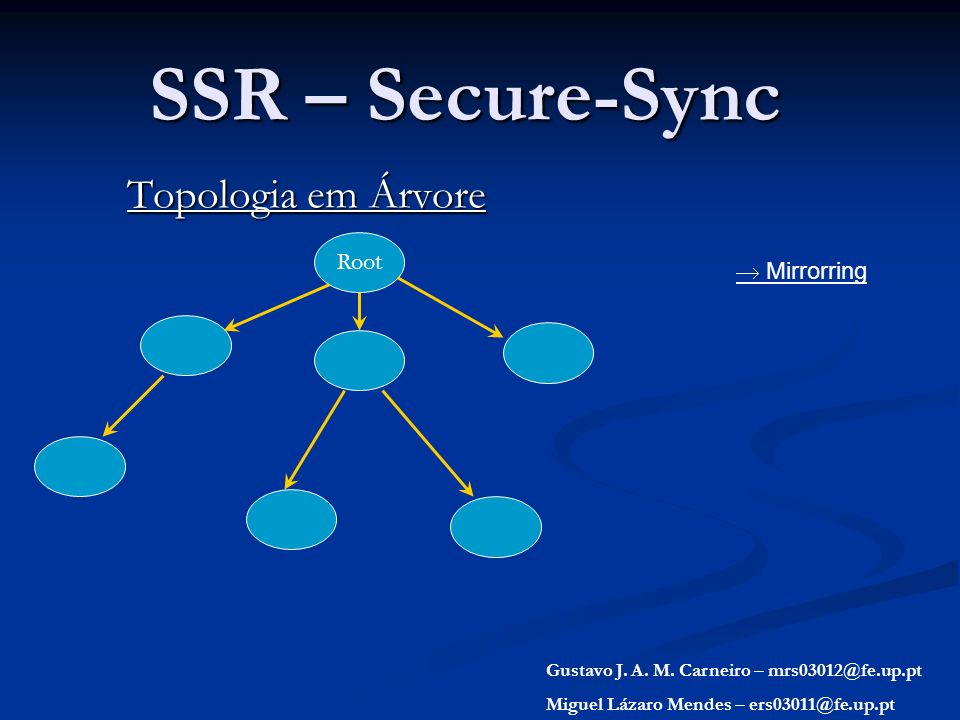 SSR – Secure-Sync Topologia em Árvore Root Gustavo J. A. M. Carneiro – mrs03012@fe.up.pt Miguel Lázaro Mendes – ers03011@fe.up.pt Mirrorring