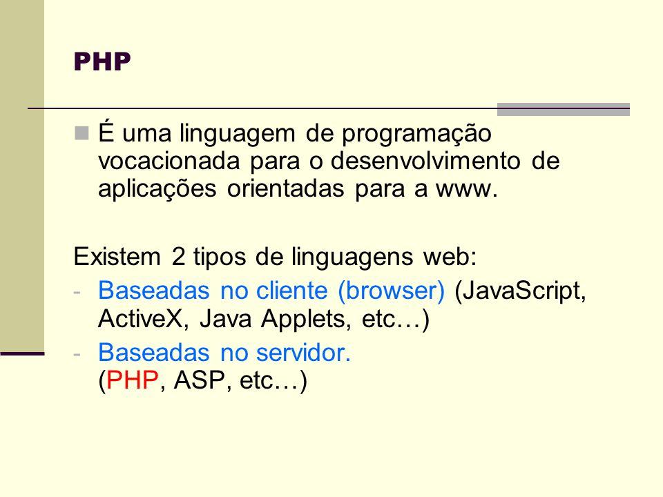 PHP O código PHP é embebido no código HTML dando origem a um script contendo instruções específicas.