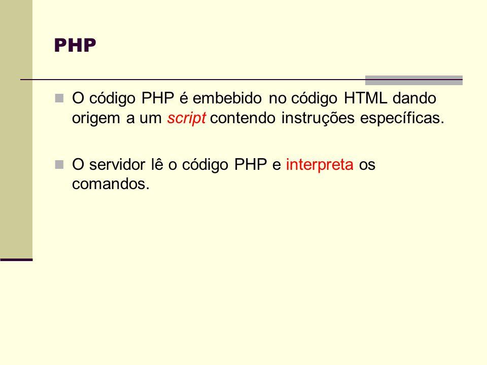 Estruturas de controlo if(condição) [else ] switch (selector) { case valor1: break; case valor2: break; … [default: ; ] } while (condição) ; do while (condição); for (inicialização; condição; incremento) ; PHP