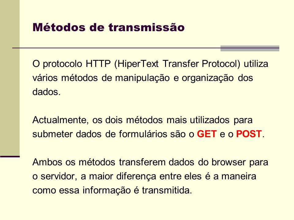 O browser acrescenta ao URL, especificado no atributo ACTION, um ? e os valores codificados; Os dados não são encriptados, logo informações que exigem segurança não devem ser manipuladas por este método; Suporta apenas até 128 caracteres, logo é útil para valores pequenos.