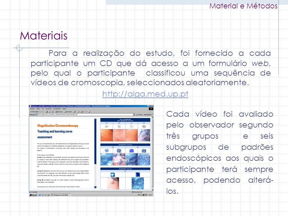 Para a realização do estudo, foi fornecido a cada participante um CD que dá acesso a um formulário web, pelo qual o participante classificou uma sequê