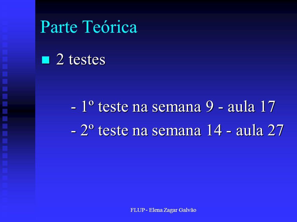 FLUP - Elena Zagar Galvão Parte Teórica 2 testes 2 testes - 1º teste na semana 9 - aula 17 - 2º teste na semana 14 - aula 27