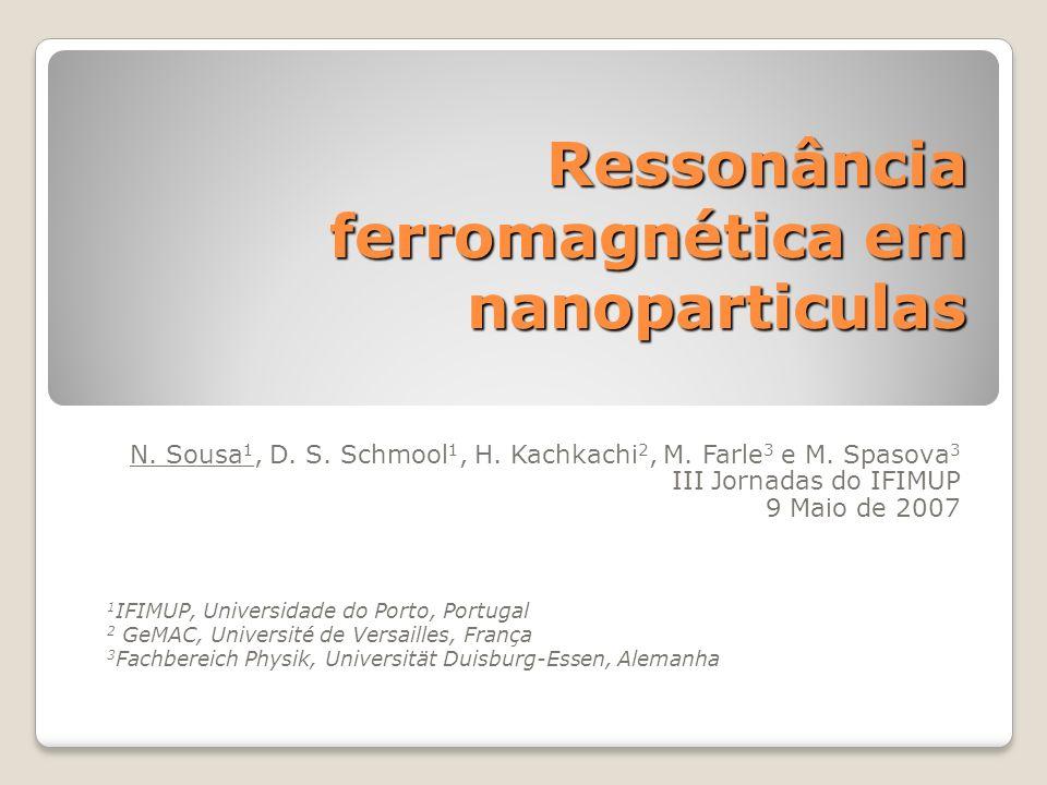 Resumo Motivação para o estudo de nanoparticulas Introdução à ressonância ferromagnética (FMR) Resultados experimentais: Medidas de FMR em nanoparticulas cúbicas de ferro Análise de Resultados Simulação de FMR em nanoparticulas Conclusões Trabalho futuro