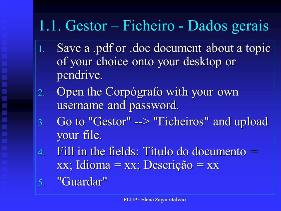 FLUP - Elena Zagar Galvão 1.1.Gestor – Ficheiro - Dados gerais 1.
