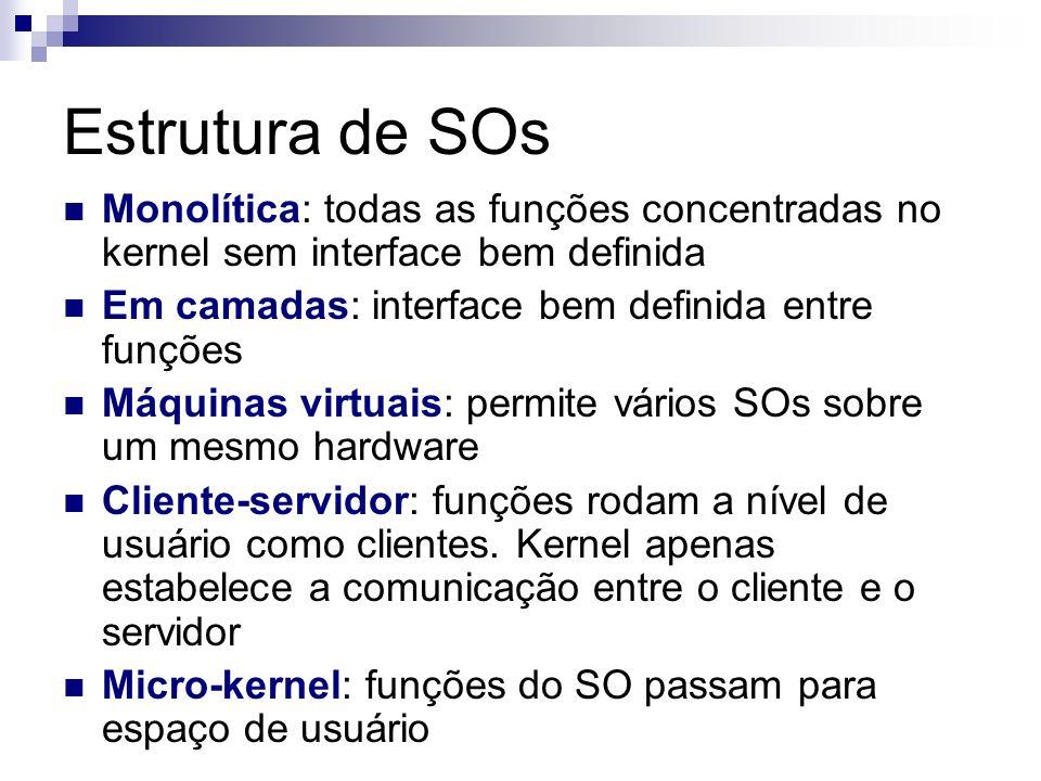 Estrutura de SOs Monolítica: todas as funções concentradas no kernel sem interface bem definida Em camadas: interface bem definida entre funções Máqui