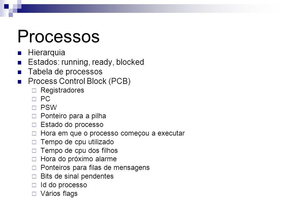 Processos Hierarquia Estados: running, ready, blocked Tabela de processos Process Control Block (PCB) Registradores PC PSW Ponteiro para a pilha Estad