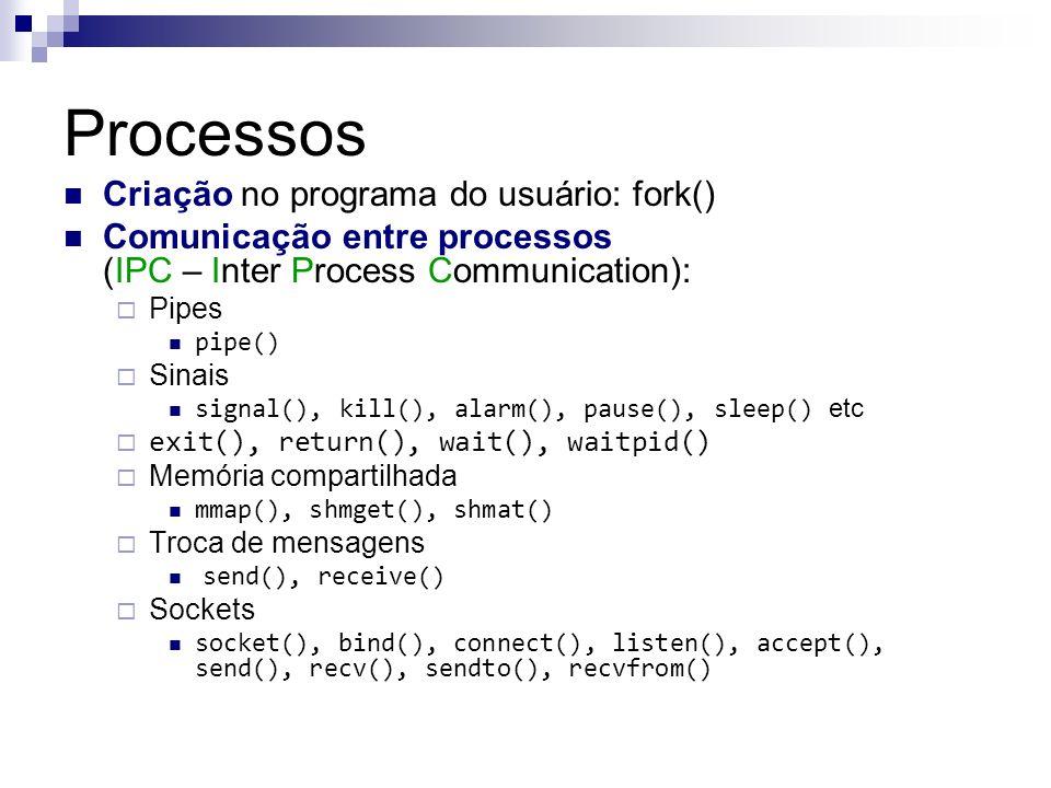 Processos Criação no programa do usuário: fork() Comunicação entre processos (IPC – Inter Process Communication): Pipes pipe() Sinais signal(), kill()