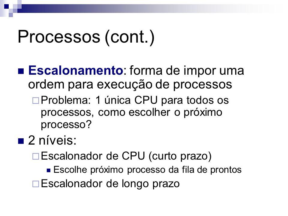 Processos (cont.) Escalonamento: forma de impor uma ordem para execução de processos Problema: 1 única CPU para todos os processos, como escolher o pr