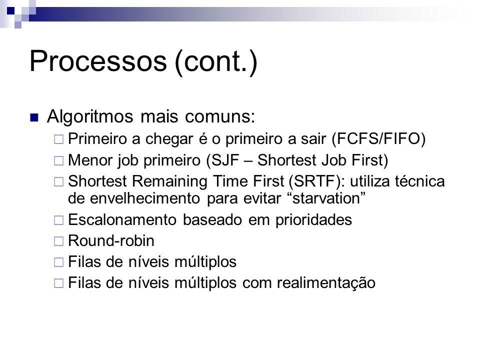 Processos (cont.) Algoritmos mais comuns: Primeiro a chegar é o primeiro a sair (FCFS/FIFO) Menor job primeiro (SJF – Shortest Job First) Shortest Rem