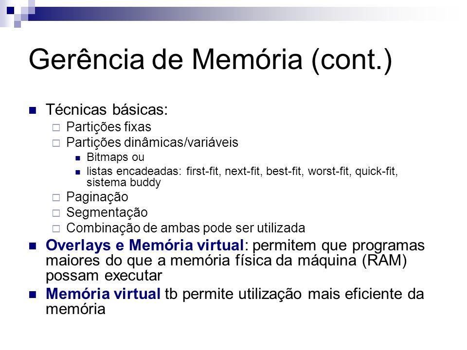 Gerência de Memória (cont.) Técnicas básicas: Partições fixas Partições dinâmicas/variáveis Bitmaps ou listas encadeadas: first-fit, next-fit, best-fi