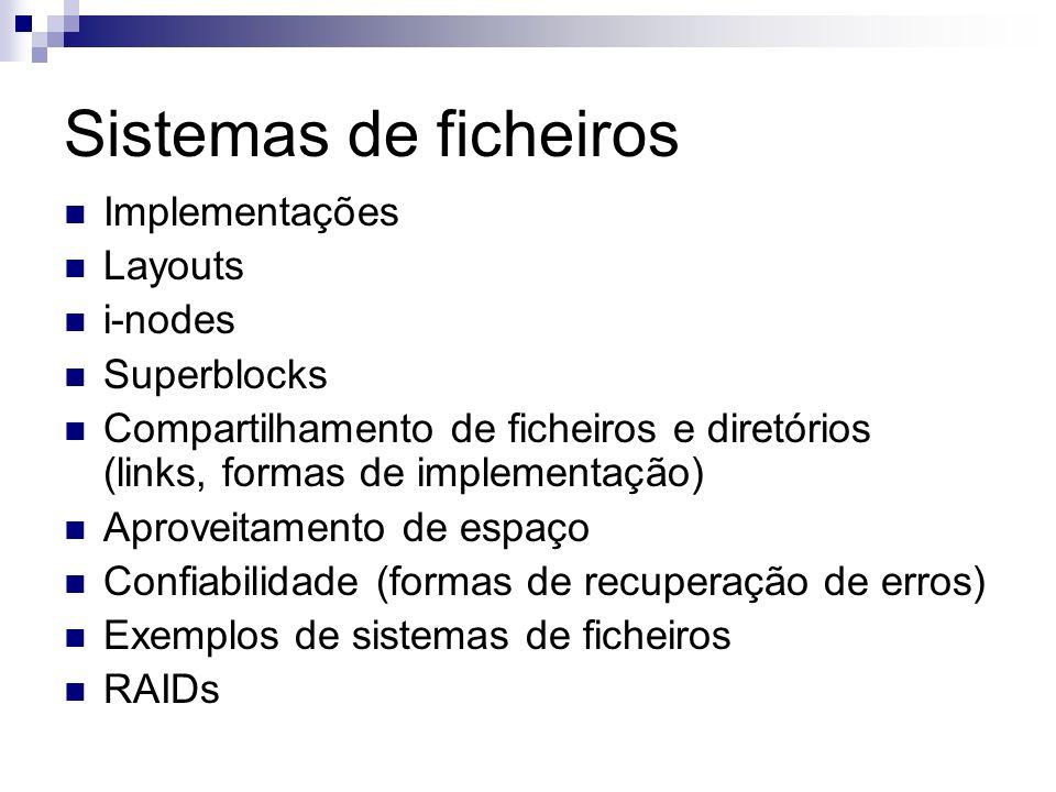 Sistemas de ficheiros Implementações Layouts i-nodes Superblocks Compartilhamento de ficheiros e diretórios (links, formas de implementação) Aproveita
