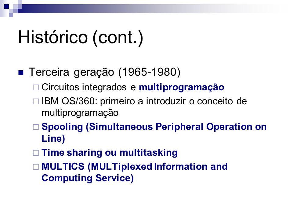 Histórico (cont.) Quarta geração (1980-) Computador pessoal MS-DOS e UNIX Criação de SOs user-friendly SOs para redes de computadores SOs distribuídos