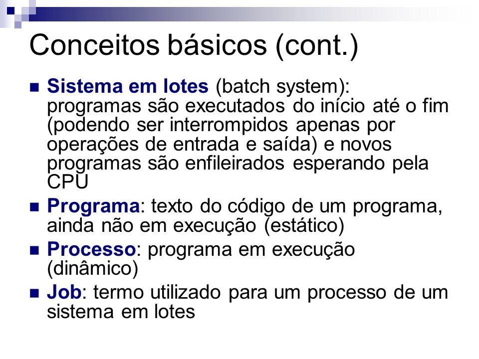 Conceitos básicos (cont.) Sistema em lotes (batch system): programas são executados do início até o fim (podendo ser interrompidos apenas por operaçõe