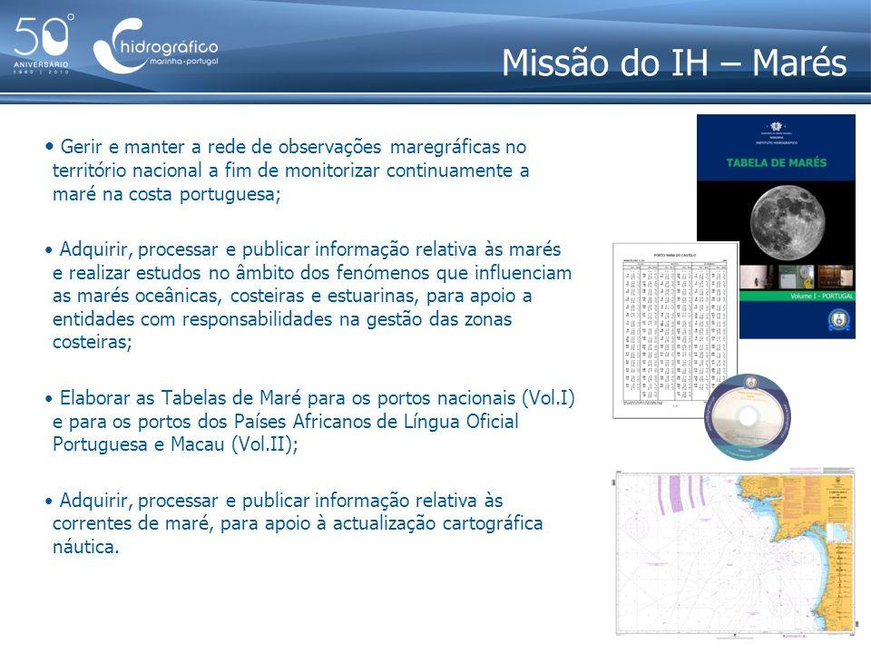 Missão do IH – Marés Gerir e manter a rede de observações maregráficas no território nacional a fim de monitorizar continuamente a maré na costa portu