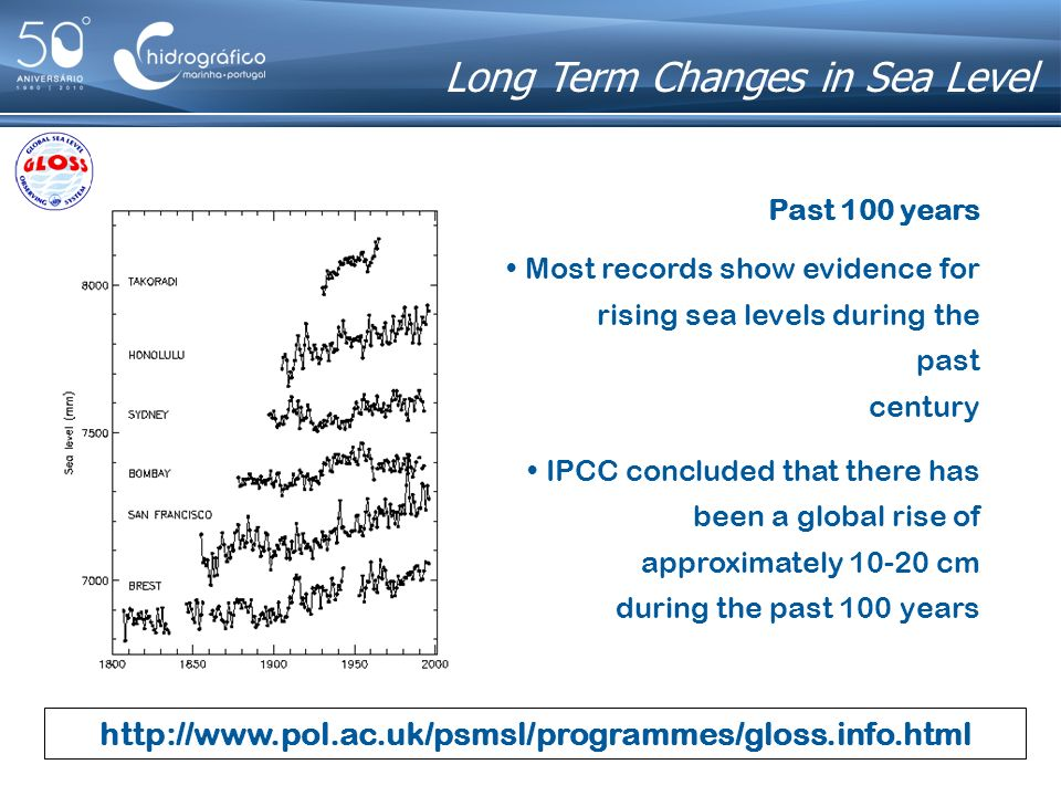 http://www.pol.ac.uk/psmsl/programmes/gloss.info.html Next 100 years a rise between 9 and 88 cm a central value of 48 cm a rate of approx.