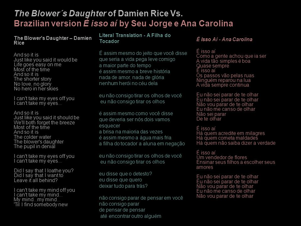 The Blower´s Daughter of Damien Rice Vs.