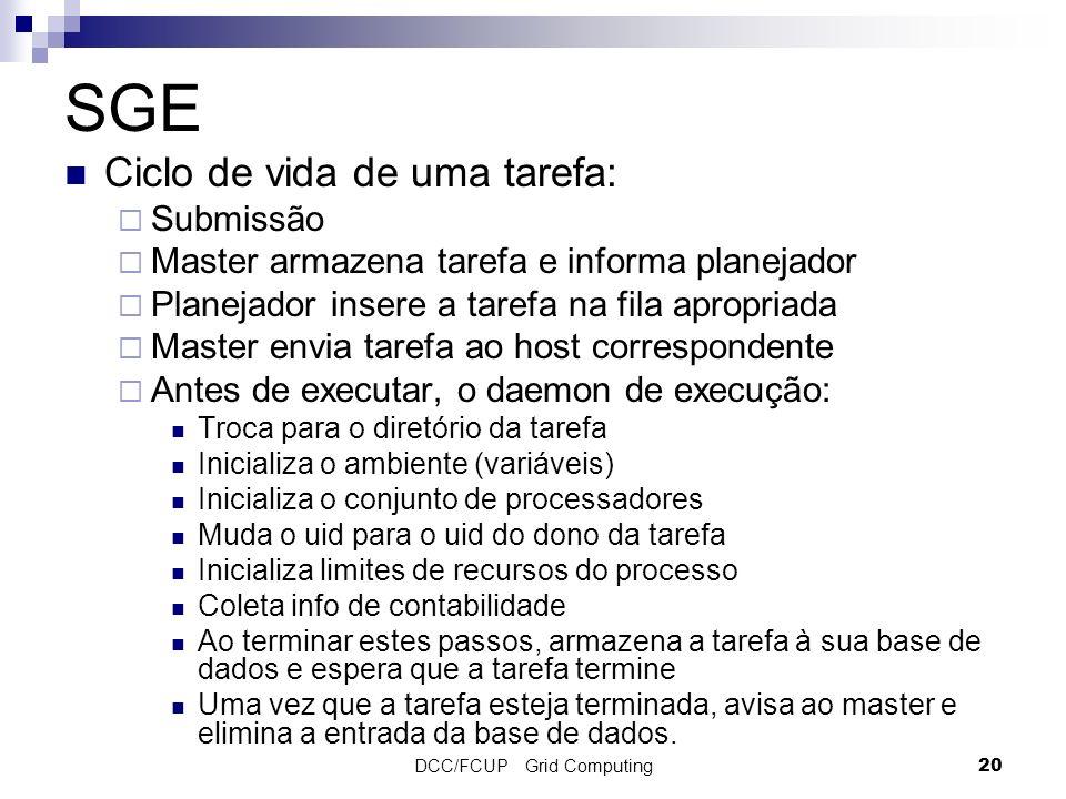 DCC/FCUP Grid Computing20 SGE Ciclo de vida de uma tarefa: Submissão Master armazena tarefa e informa planejador Planejador insere a tarefa na fila ap