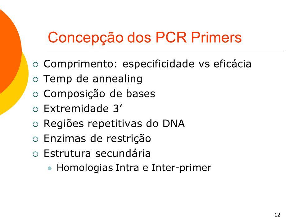 12 Concepção dos PCR Primers Comprimento: especificidade vs eficácia Temp de annealing Composição de bases Extremidade 3 Regiões repetitivas do DNA En