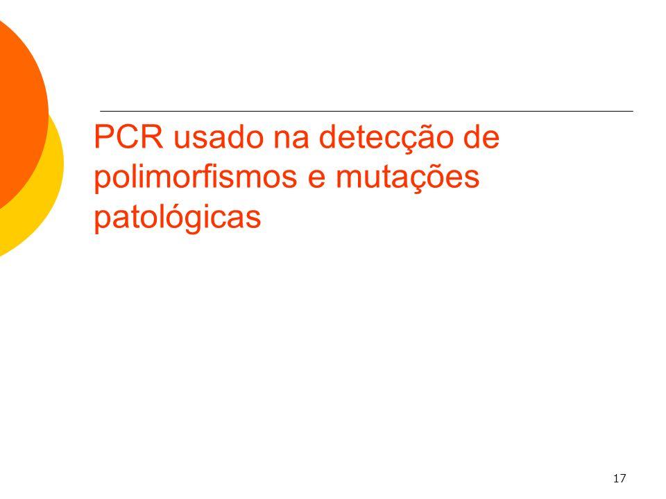 17 PCR usado na detecção de polimorfismos e mutações patológicas