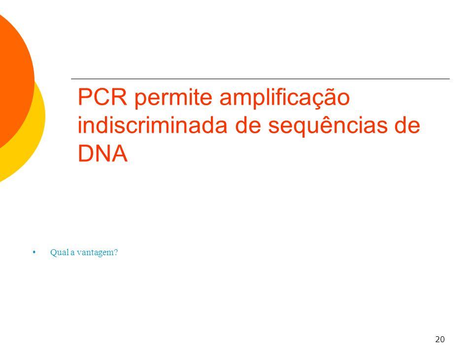 20 Qual a vantagem? PCR permite amplificação indiscriminada de sequências de DNA