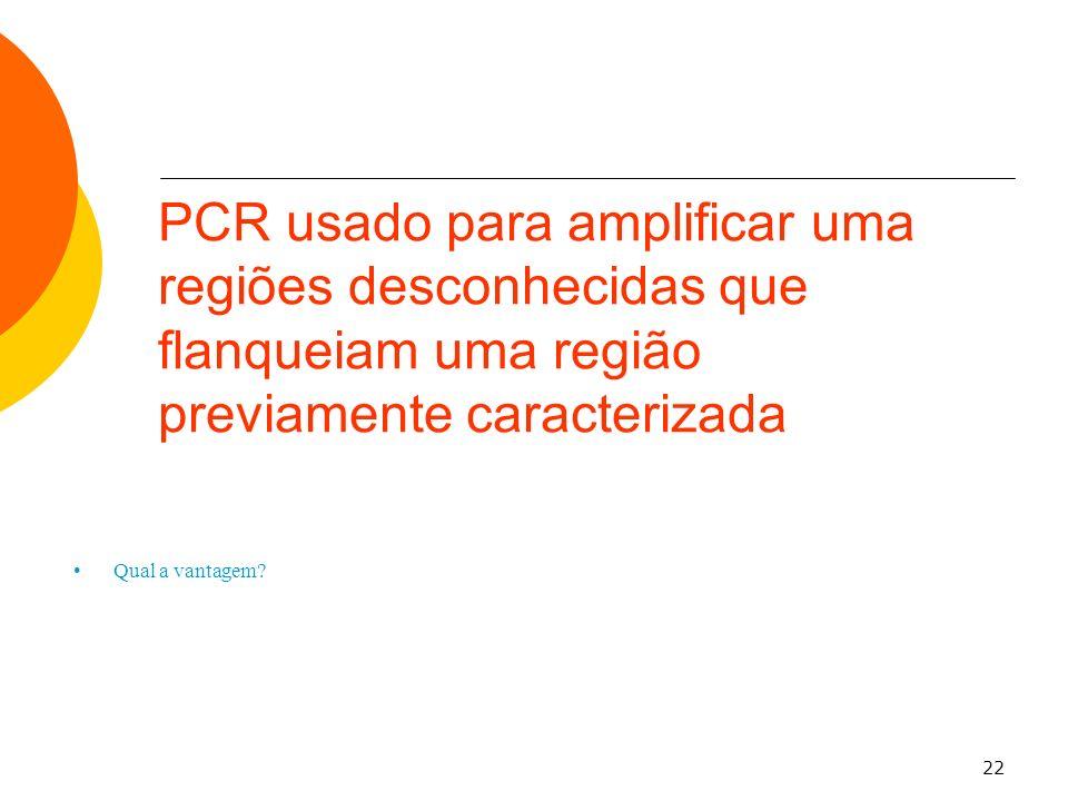 22 Qual a vantagem? PCR usado para amplificar uma regiões desconhecidas que flanqueiam uma região previamente caracterizada