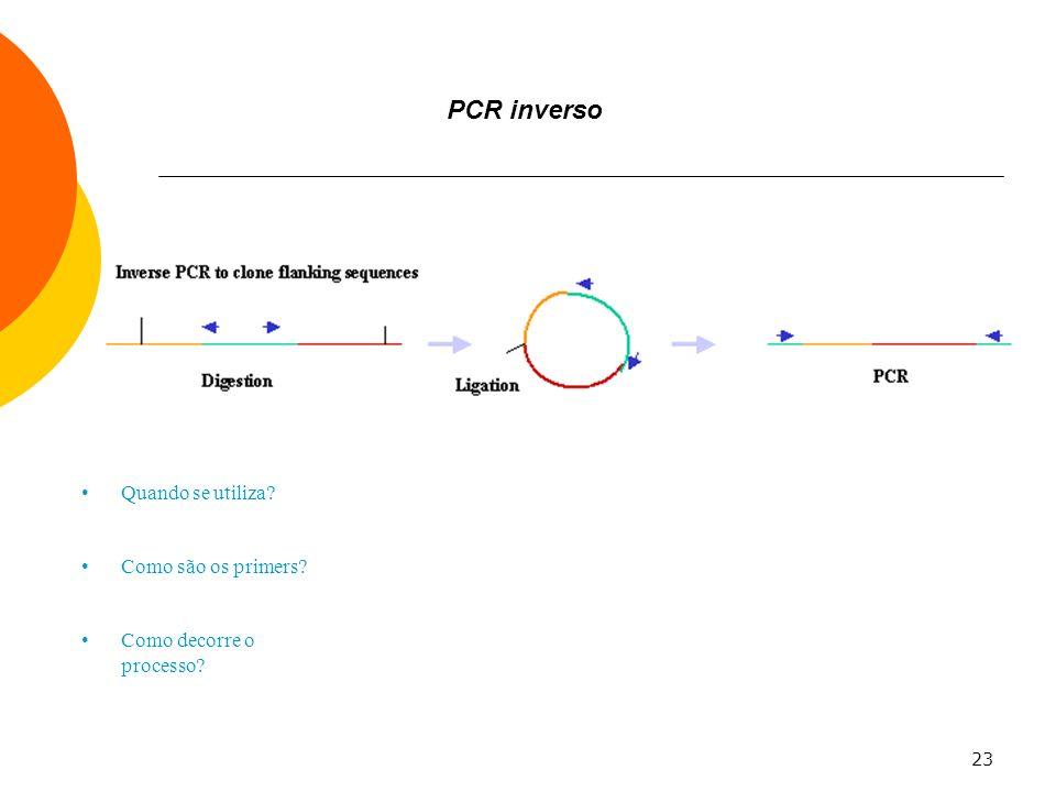 23 PCR inverso Quando se utiliza? Como são os primers? Como decorre o processo?