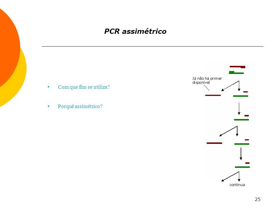 25 PCR assimétrico Com que fim se utiliza? Porquê assimétrico?
