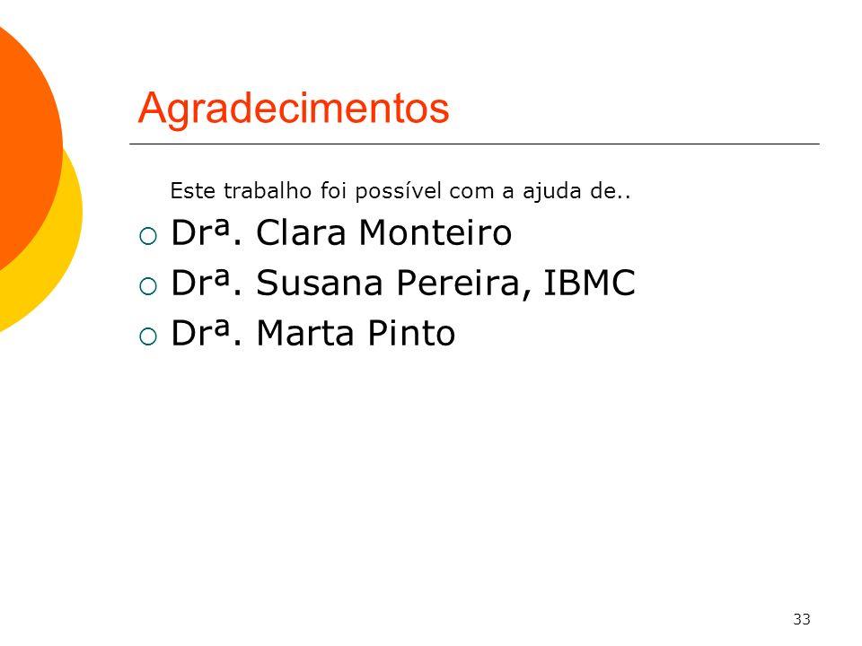 33 Agradecimentos Este trabalho foi possível com a ajuda de.. Drª. Clara Monteiro Drª. Susana Pereira, IBMC Drª. Marta Pinto