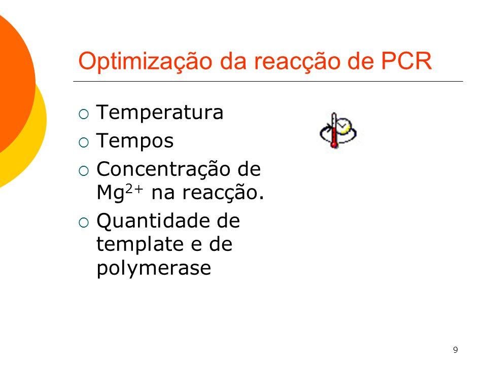 9 Optimização da reacção de PCR Temperatura Tempos Concentração de Mg 2+ na reacção. Quantidade de template e de polymerase