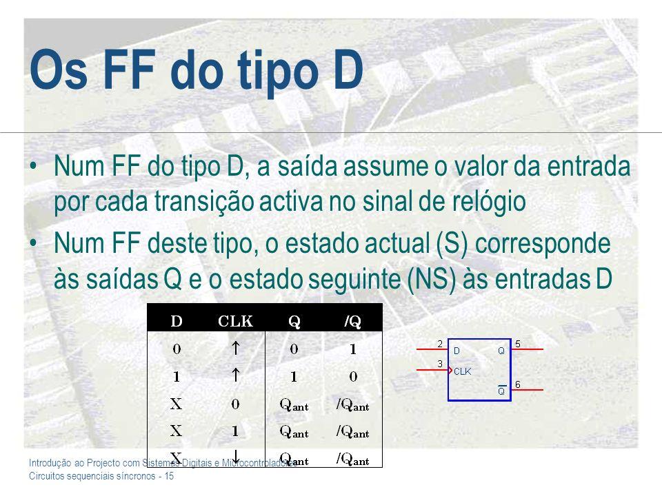 Introdução ao Projecto com Sistemas Digitais e Microcontroladores Circuitos sequenciais síncronos - 15 Os FF do tipo D Num FF do tipo D, a saída assum